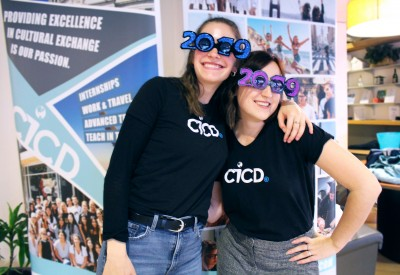 """CICD staff rocking the """"Year of the DS-2019"""" party swag!"""
